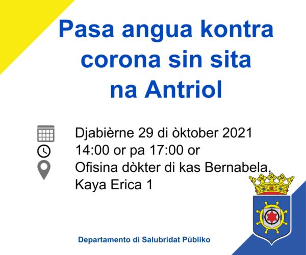 PASA ANGUA KONTRA CORONA 29 DI ÒKTOBER NA OFISINA DI DÒKTER ANTRIOL