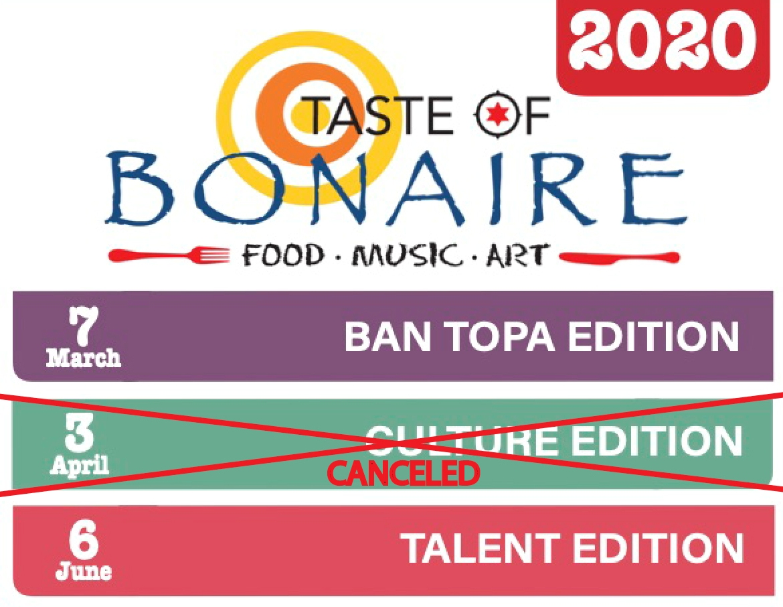 TCB TA KANSELA TASTE OF BONAIRE DIA 3 DI APREL I TA POSPONE PARTISIPASHON NA SIMADAN DIA DI RINCON 2020.